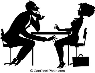 Black silhouette of a sleazy businessman harassing a shocked female colworker, EPS8 vector illustration, no white objects