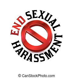 A red sexual harassment warning sign symbol illustration icon. Vector EPS 10 available.
