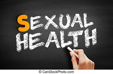 Sexual Health text on blackboard, health concept background