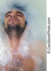 sexual, jovem, banho, pelado, sujeito, bronzeado