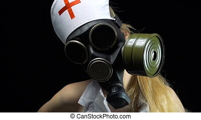 Sexual nurse girl in gas mask - Footage of sexual young...