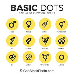 Sexual orientation flat icons vector set