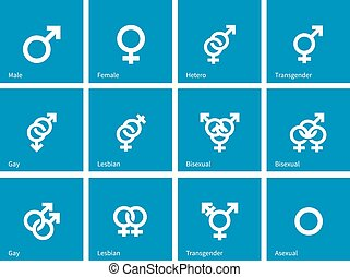 Sexual orientation icons on blue background. Vector...
