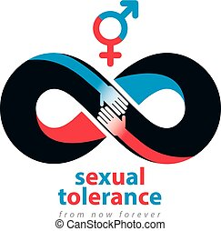 Sexual Tolerance hetero and homosexuals conceptual symbol, Zero tolerance, vector symbol created with infinity loop sign and two hands of people of different orientation touching and reaching each other.