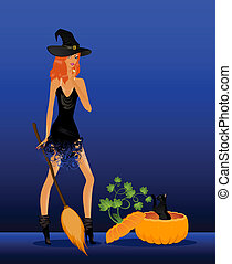 sexual witch sits on a broom