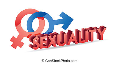 sexuality male and female symbols illustration design over white