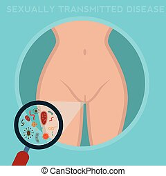 sexually-transmitted diseases. woman body infected