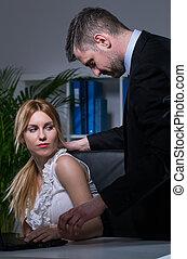 sexuellt angrepp, in, kontor