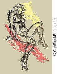 sexy, abstrakt, zeichnung, 2