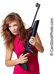 sexy, actie, meisje, met, geweer