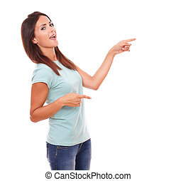 Sexy adult woman pointing to her left