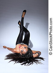 Sexy african american glamour model long hair