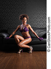 Sexy african american woman leather and lingerie - Stunning...