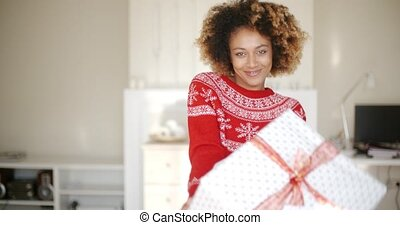 Sexy African American Woman with Christmas Gift