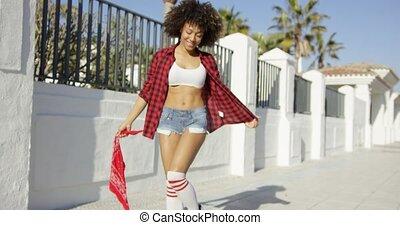 sexy, afrikanisches amerikanisches mädchen, genießt, sie, life.