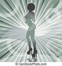 sexy afro woman silhouette with ray