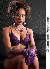 sexy, afrykańska amerikanka, blask, i, bielizna, wzór
