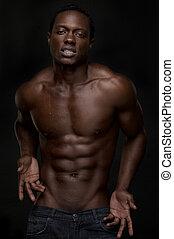 sexy, amerykanka, afrykański człowiek
