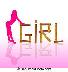 sexy and hot girl in pink vector silhouette