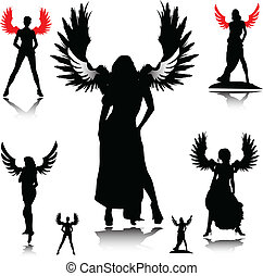 sexy angel vector silhouettes