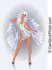 Sexy Angel woman, vector illustration