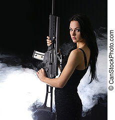 sexy, arma, mujer