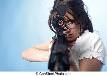 sexy, asalto, mujer, rifle