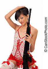 sexy asian girl with a rifle