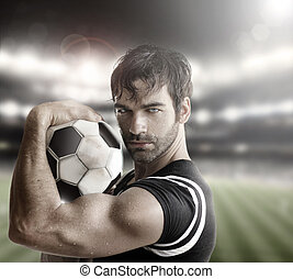 Sexy athlete - Sexy muscular man athlete with ball
