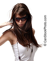 Sexy babe - Sexy brunette woman in sunglasses and shirt...