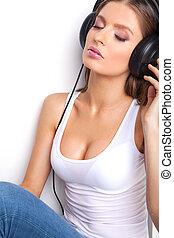 sexy, baby, in, weißes hemd, und, kopfhörer, zuhören, music., schöne , m�dchen, sitzen, in, kopfhörer, mit, augen schlossen
