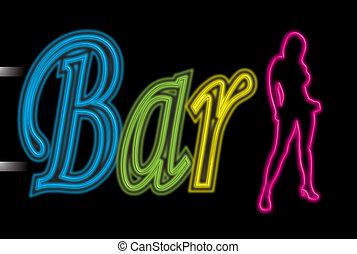 sexy, bar, neon zeichen