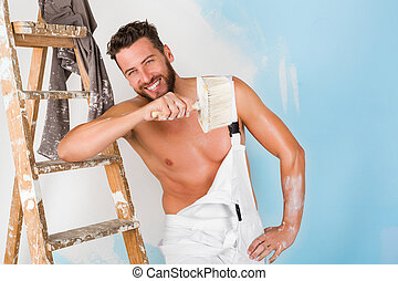 sexy bare chest painter - Portrait of sexy bare chest...