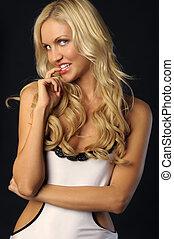 Sexy beautiful blonde woman in underwear