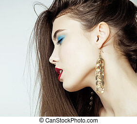 Sexy Beauty Girl with Red Lips and Nails