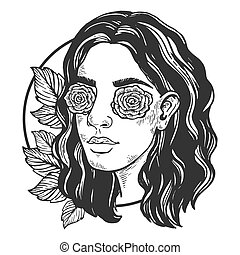 Sexy beauty girl with roses instead her eyes vintage engraving vector illustration. Scratch board style imitation. Black and white hand drawn image.