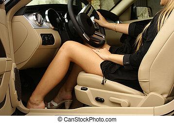 sexy, beine, auto
