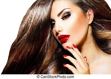 sexy, belleza, niña, con, labios rojos, y, nails., provocativo, maquillaje