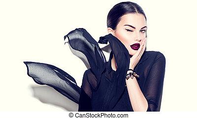 sexy, bellezza, modello, ragazza, con, scuro, labbra, il portare, elegante, chiffon, vestire