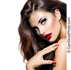 sexy, bellezza, ragazza, con, labbra rossi, e, nails., provocatorio, trucco