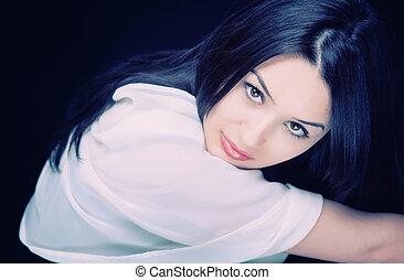 sexy, bello, giovane, brunetta, donna