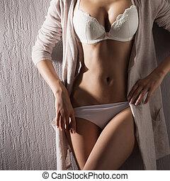 sexy, biały, kobieta, brzuch, bielizna