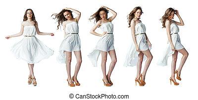 sexy, biały, kobieta, strój, młody