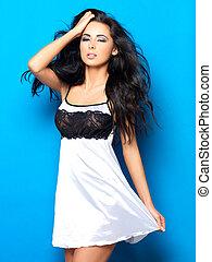 sexy, bianco, biancheria intima