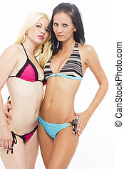sexy, bikini, couple, lesbienne