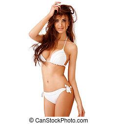 sexy, bikini, vrouw, jonge, witte