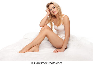 sexy, biondo, donna