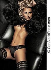 sexy, biondo, giovane signora, proposta, su, nero,...