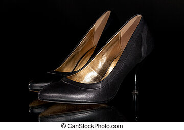Sexy black leather woman's classic stiletto high heel court...