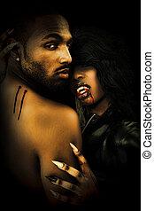 Sexy Black Vampire Couple Embrasing in Dark
